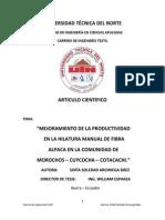 Mejoramiento de La Productividad de la fibra de alpaca en la region de puno
