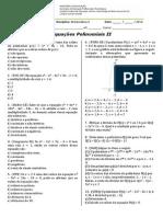 Lista - Equacoes Polinomiais_II_2014