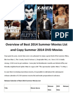 2014 Summer Movies List