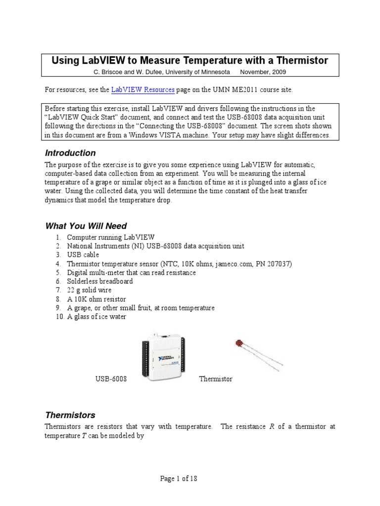 Labview Thermistor Electrical Resistance And Conductance Temperature Ni Usb 6008 Wiring Diagram
