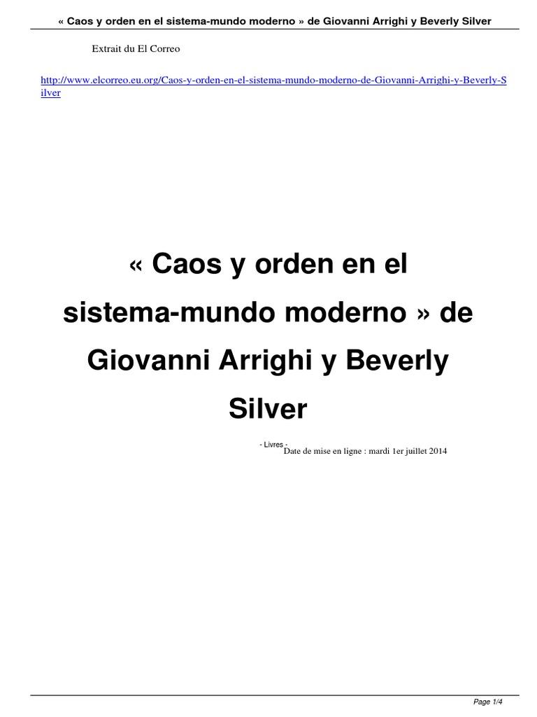 Caos y Orden en El Sistema Mundo Moderno de Giovanni Arrighi y ...