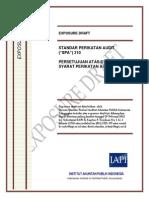 ED SPA 210 - Persetujuan Atas Syarat-syarat Perikatan Audit