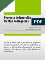 Proyecto de Inversión vs Plan de Negocios