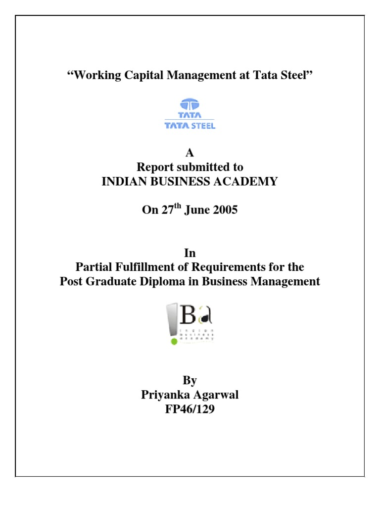 working capital management at tata steel working capital steel