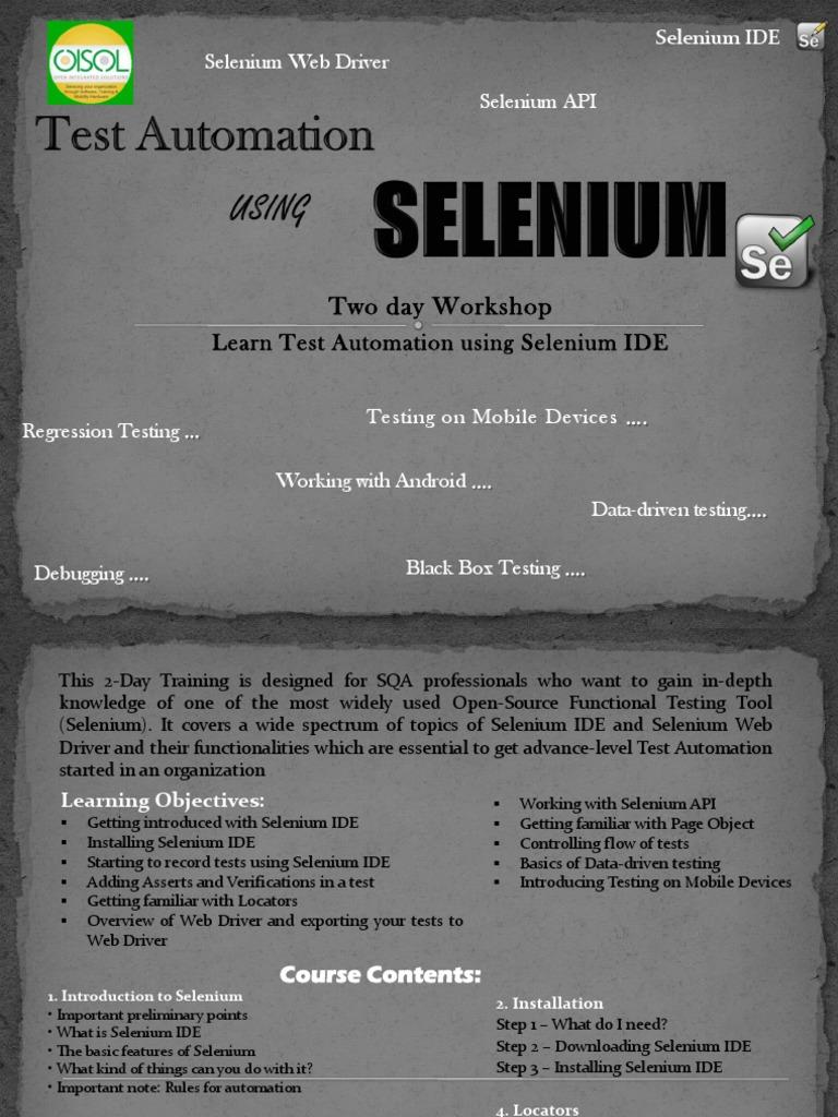 Test Automation Using Selenium 2 Days Karachi | Selenium