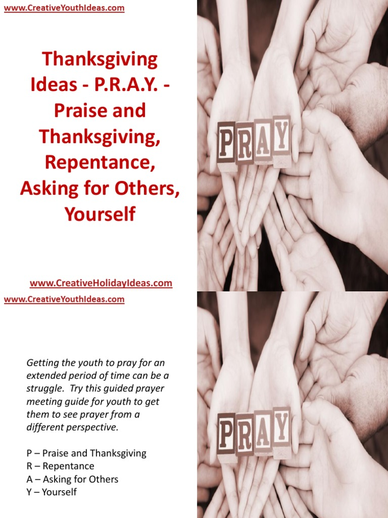 thanksgiving ideas - p.r.a.y. - praise and thanksgiving, repentance