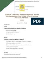 """Synod14 - Undécima Congregación General_ """"Relatio Post Disceptationem """" Del Relator General, Cardenal Péter Erdő"""