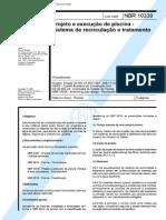 10339 - NBR 10339 - Projeto e Execução de Piscina - Sistema de Recir