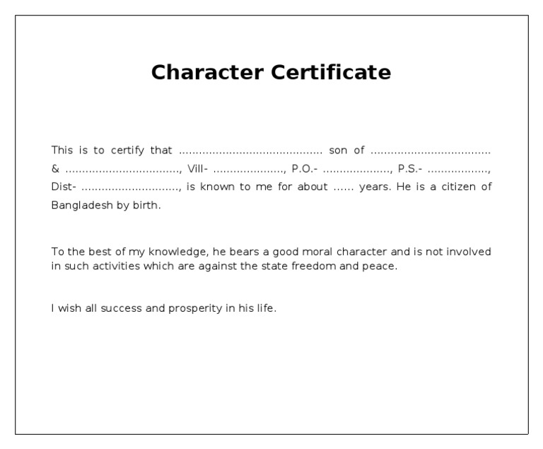 Character certificate english yadclub Gallery