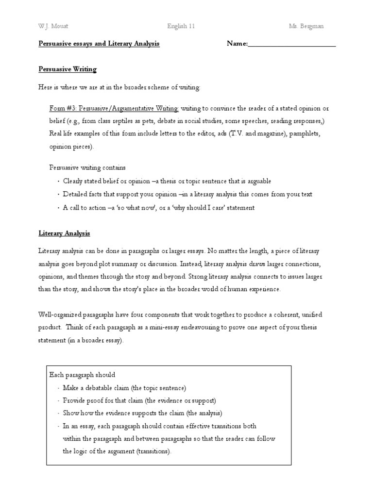 Literary Analysis Handout Essays The Yellow Wallpaper