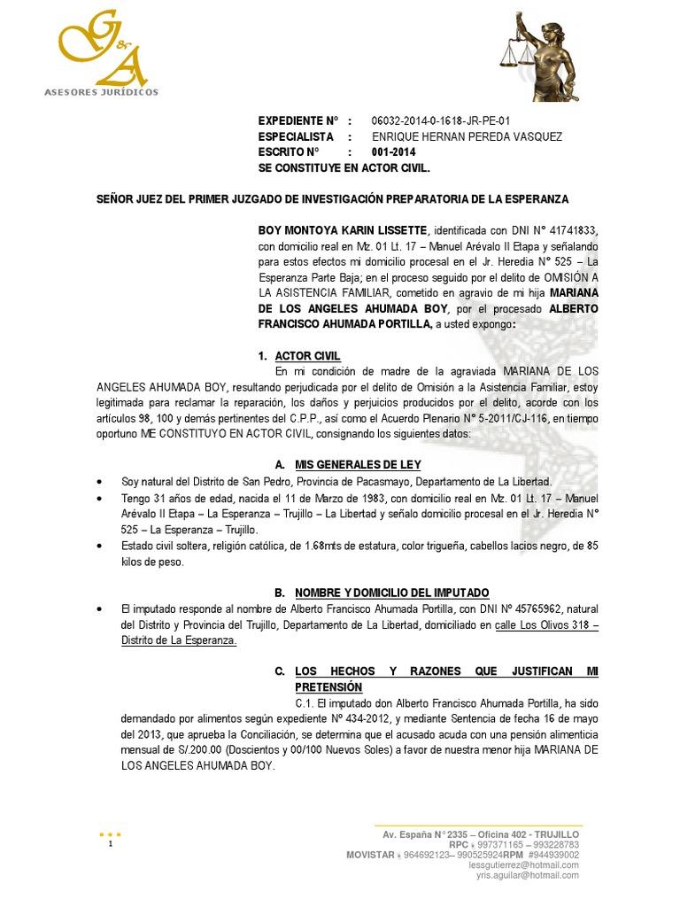 Escrito 001 - Se CONSTITUYE EN ACTOR CIVIL