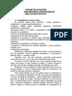 Raport de Activitate La Comisia Metodica