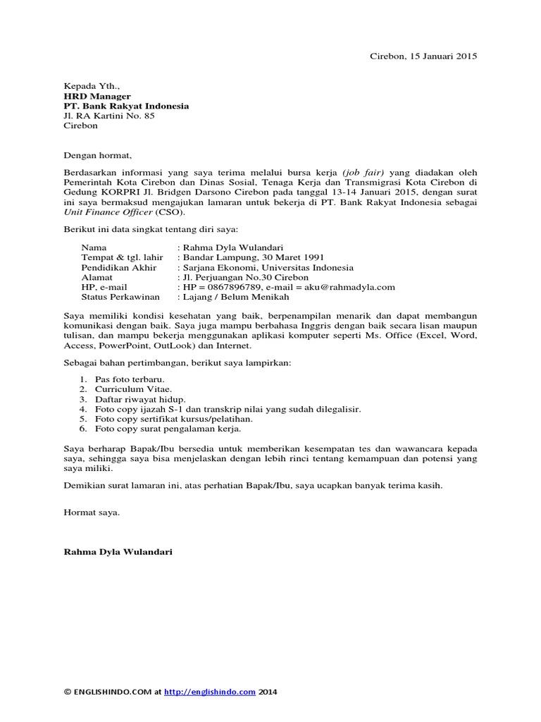 Contoh Surat Lamaran Kerja Di Bank Dalam Bahasa Indonesia