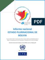 INFORME NACIONAL DEL ESTADO PLURINACIONAL DE BOLIVIA. En el contexto del 20º aniversario de la Cuarta Conferencia Mundial sobre la  Mujer y la aprobación de la Declaración y Plataforma de Acción de Beijing División de Asuntos de Género de la CEPAL camino a Beijing+20