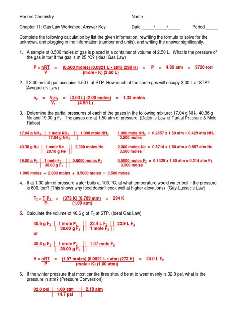 Gas Laws Worksheet III Answer Key 11-12   Gases   Mole (Unit)