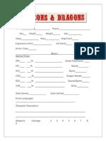 OD&D Character sheet