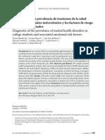 Diagnóstico de la prevalencia de trastornos de la salud  mental en estudiantes universitarios y los factores de riesgo  emocionales asociados