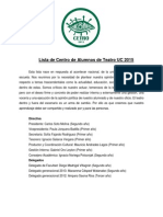Lista de Centro de Alumnos de Teatro Uc