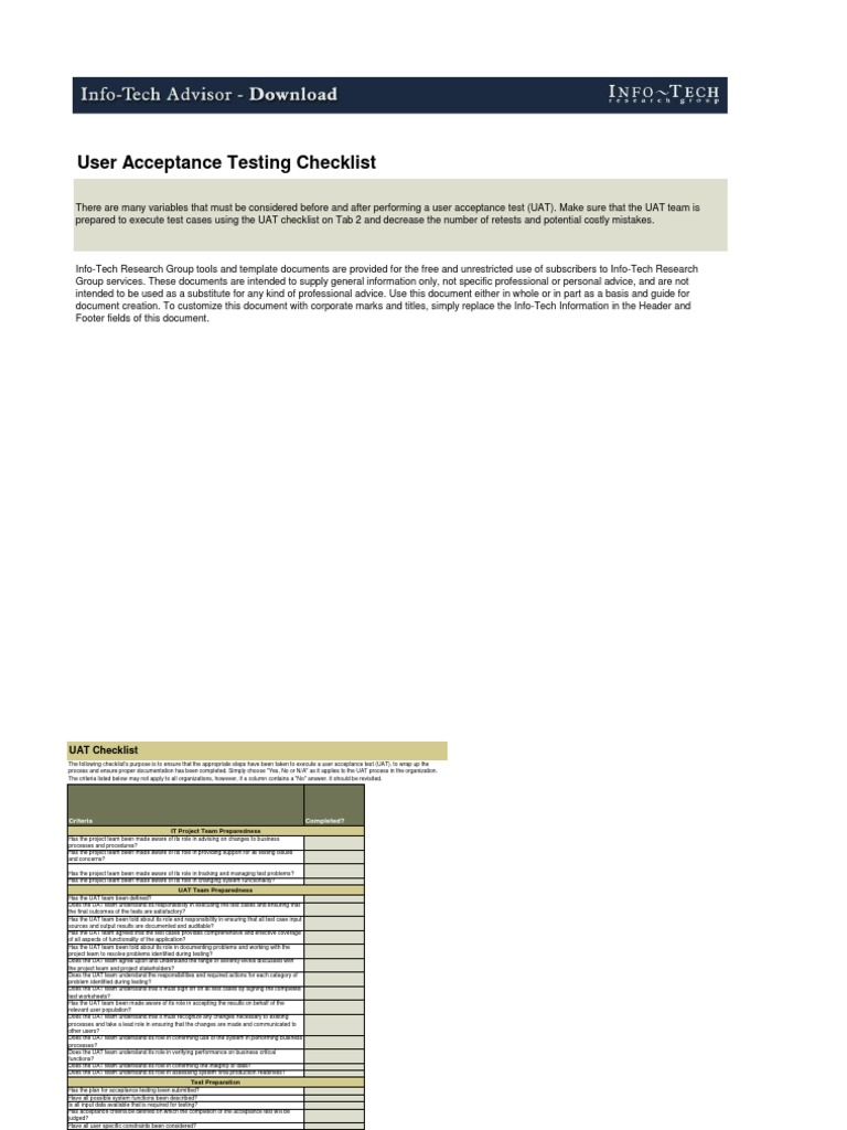 UAT Checklist | Systems Engineering | Information Technology