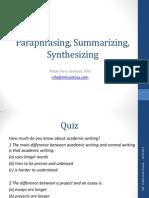 Paraphrasing, Summarizing, Synthesizing Hery EAP 27092014