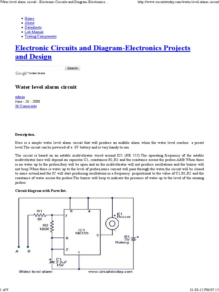 Water Level Alarm Circuit Electronic Circuits And Diagram Diagrams Hobby Projects Electronics Parts Design