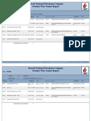 KNPC - Product Wise Vendor List | Petroleum | Chemical Substances