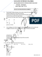 NSEJS Solved Paper 2012