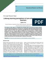 Lifelong learning perceptions of the pre-school pre-service teachers
