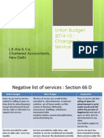 Changes in Service tax law