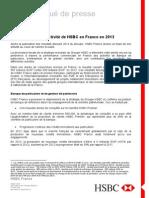 Bilan d'activité HSBC en France en 2013