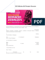 Bases de La XXII Edición Del Premio Horacio Zeballos