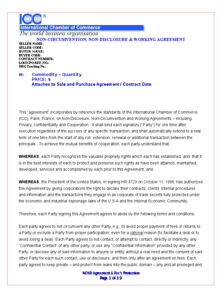 Blank ncnda imfpa arbitration financial transaction platinumwayz