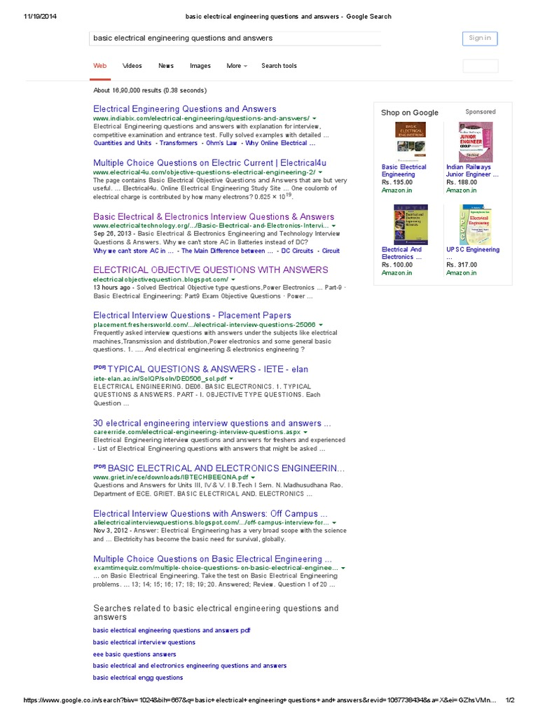 basic electrical engineering questions and answers google search