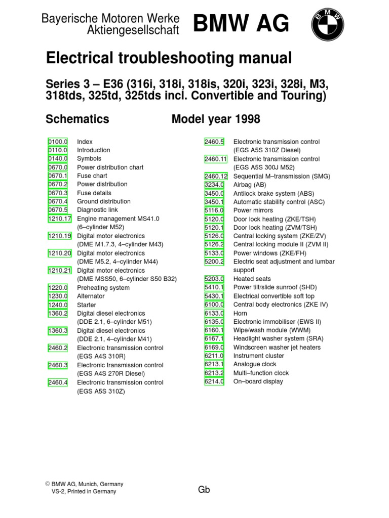 1998 BMW    E36    Electrical    Wiring       Diagram      Vehicle Parts
