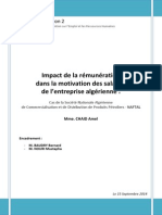 Impact de la rémunération  dans la motivation des salariés  de l'entreprise algérienne