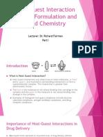 Drug Formulation and Food Chemistry
