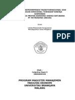 Pengaruh Kepemimpinan Transformasional Dan Kecerdasan Emosional Terhadap Kinerja Karyawan (Studi Pada Proyek Konversi Energi Batubara PT Petrokimia Gresik)