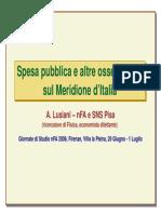 Spesa pubblica e altre osservazioni sul Meridione d'Italia