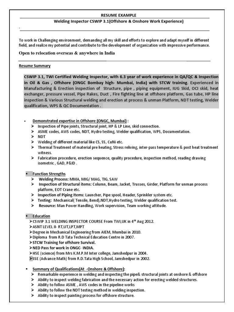 resume sample metal fabrication welding - Hydro Test Engineer Sample Resume