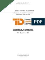 Programa de Teoria II de Arquitectura 2011