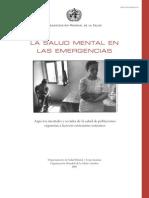 La Salud Mental en Las Emergencias y Desastres