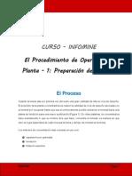 El Procedimiento de Operación en Planta 1 Preparación de La Mena