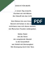 Hartmut Eggl - Gedicht Für Beate