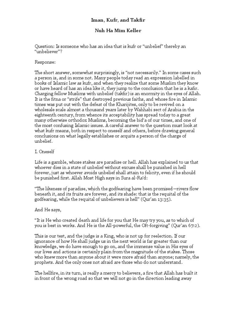 IMAN KUFR AND TAKFIR PDF