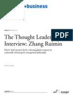 El camino del lider Zhang Ruimin