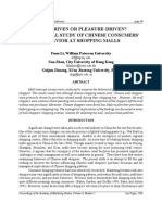 Chinese Consumer's Behavior at Shopping Malls - A Study
