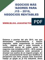 Los Negocios Más Innovadores Para 2015 – 2016 Negocios Rentables