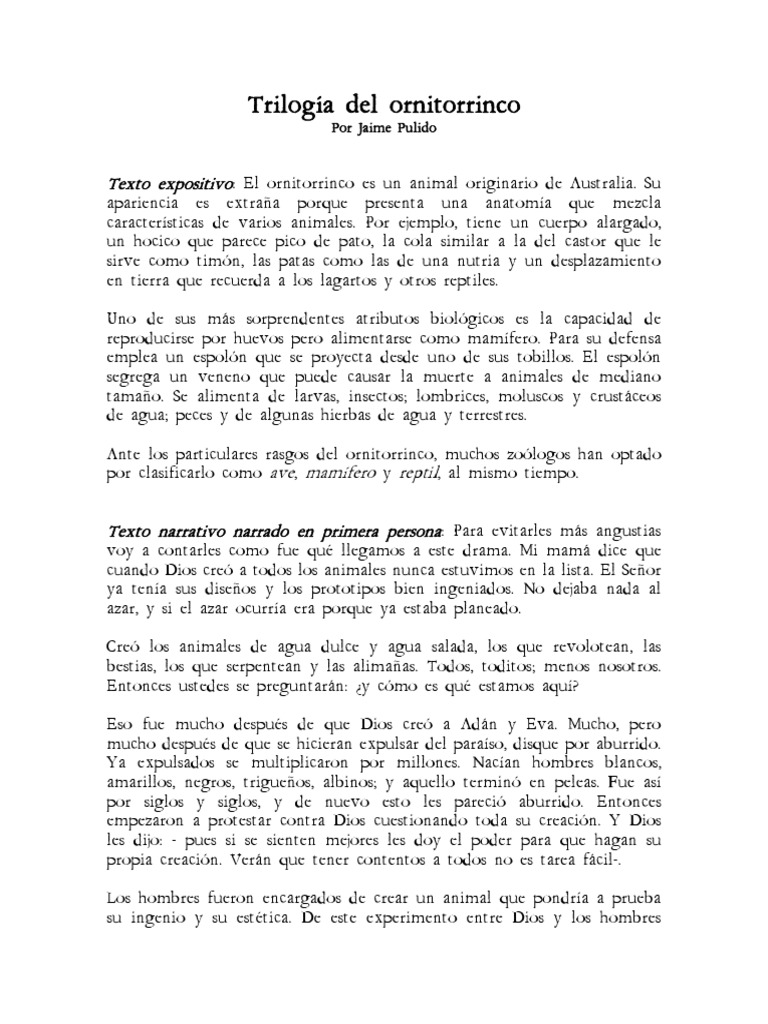 Trilogía Sobre El Ornitorrinco