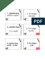 Tarjetas de La Cadenadecimales