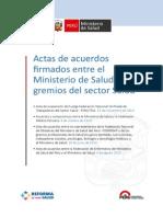 Actas de Médicos, Enfermeros, Profesionales y Fenutssa.